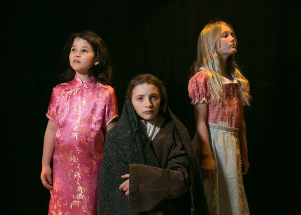 Left: Aria Pines, age 9 of Longfellow School, playing Yeh Shen, the Chinese Cinderella. Middle: Zoe Cheever, age 11 of East End Community, playing Broken Wing, the Mi'kmaq Cinderella. Right: Wilhelmina Ingwersen, age 11 of East End Communty, playing Vasilisa, the Russian Cinderella.
