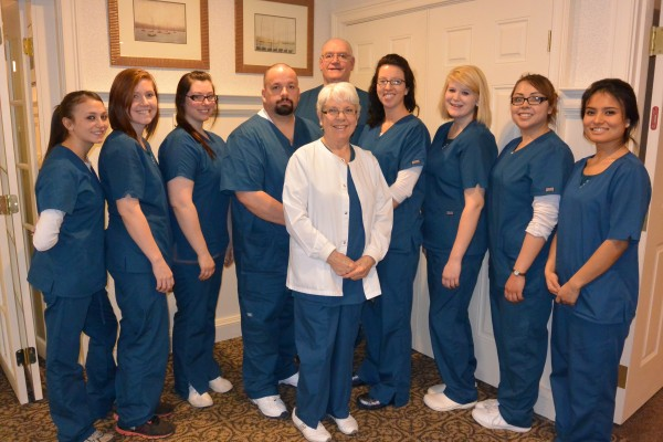 Graduates of MST's Spring 2014 Certified Nursing Assistant (CNA) program include, left to right, Megan Green, Susan Turner, Nikki Hayes, Kevin Vanleer, Scott Ewen, Cameron Kunesh, Catherine McDonald, Sherilyn Callahan, and Maya Dunning, with instructor Marian Rector, RN, center.
