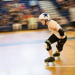 Photo by Scott Lovejoy. All-star jammer Grim D Mise is a powerhouse for Maine's A-team, which takes on Vermont on April 26 at the Expo in Portland.