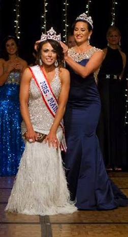 Liza Smith of Sebec is crowned by outgoing Mrs. Maine America 2013 Lisa DiBiase