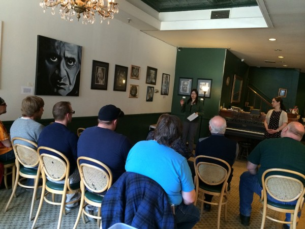 Hilary Lister of the Medical Marijuana Caregivers of Maine speaks at a free medical marijuana information session downtown at the Big Easy Lounge inside the Charles Inn on Broad Street on Saturday.
