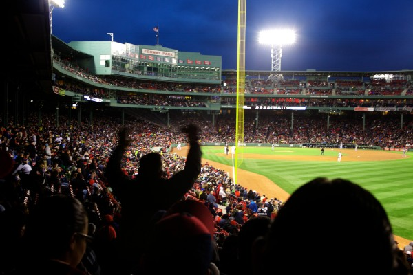 Fans roar as the Boston Red Sox play the Tampa Bay Rays Tuesday night at Fenway Park. The Sox beat the Rays 7-4.