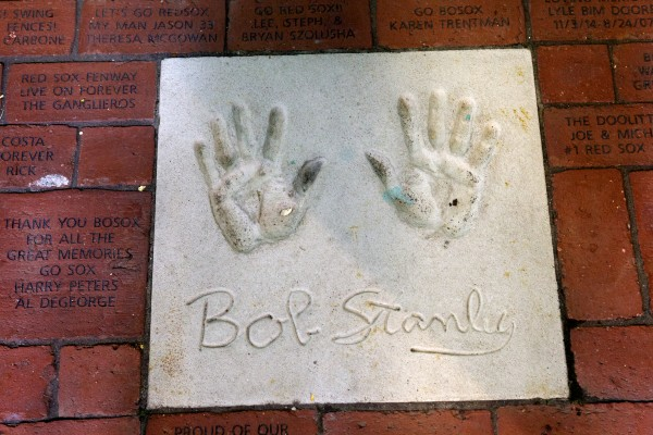 Hand prints from former Red Sox pitcher Bob Stanley, who was born in Portland, grace a brick walk at Fenway Park in Boston on Tuesday.