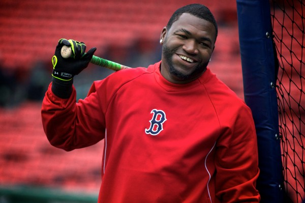 Boston Red Sox slugger David Ortiz smiles during batting practice Tuesday at Fenway Park. Volunteers of America action teams from four Maine high schools were on hand to watch the Sox beat the Tampa Bay Rays 7-4.