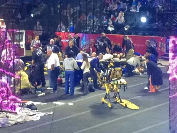 Emergency personnel attend to Ringling Bros. and Barnum & Bailey Circus performers who were injured when the scaffolding they were performing from collapsed in Providence, Rhode Island, on Sunday.