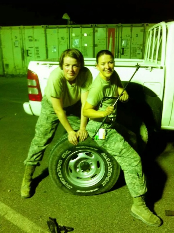 Davielle Rodgers of Brunswick, left, poses for the camera with her roommate during their deployment in Afghanistan.