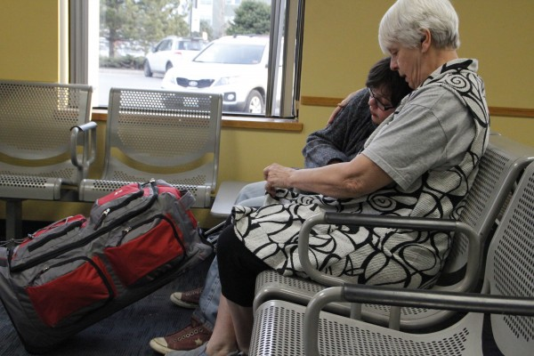 Patty Sparks comforts her granddaughter, Gabrielle Sparks, after Gabrielle's mother, Davielle Rodgers, leaves for Afghanistan in 2012.