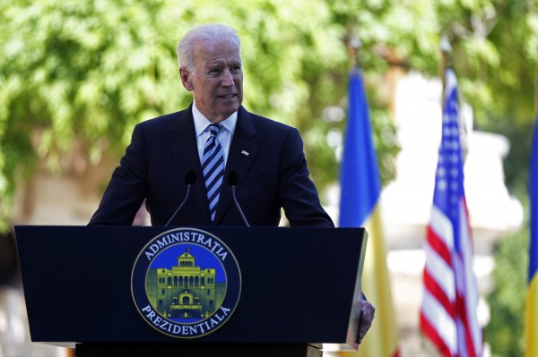 U.S. Vice President Joe Biden addresses a joint media briefing with Romania's President Traian Basescu (not in picture) at Cotroceni presidential palace in Bucharest May 21, 2014.