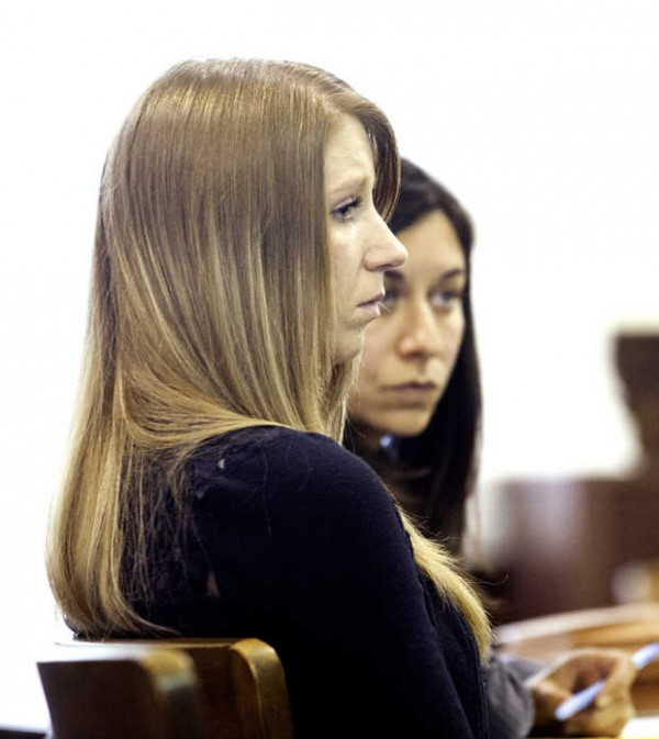 Kristina Lowe sits through the opening statement at her jury trail Thursday at Oxford County Superior Court.