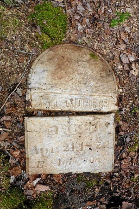 The broken gravestone of William Norris, who died April 21, 1872. Norris was a veteran of the War of 1812. His gravestone was buried for about 100 years -- in Trenton in a cemetery that was later destroyed -- until Bob Whittaker's efforts led to its discovery in May 2013.