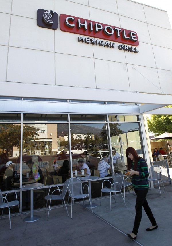A Chipotle restaurant is pictured in Pasadena, California on October 17, 2012.