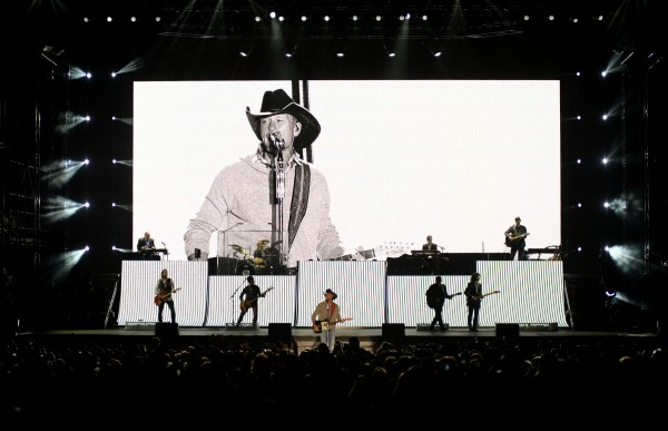 Tim McGraw performs in front of a giant video screen at Darling's Waterfront Pavillion on Thursday night.