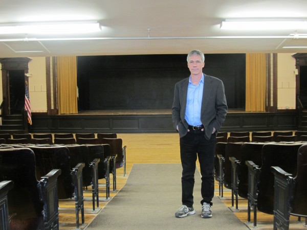 Mario Abaldo stands in the theater of the Lincoln Street Center in Rockland on Wednesday. It is being renovated from basement to roof.
