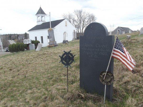 Col. John Crane, one of the men who carried out the Boston Tea Party, is buried in the cemetery behind the Union Meeting House in Whiting. His son, Isaac, buried nearby, donated the land for the building.