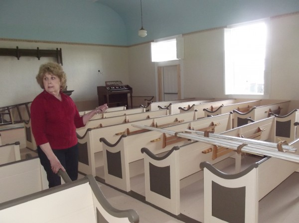 Mary Alice Look talks about compiling the information for the Union Meeting House's nomination to the National Register of Historic Places in Whiting on Saturday.