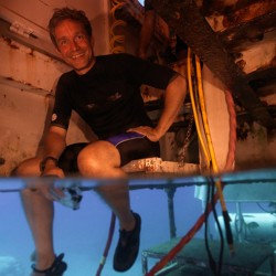 Jacques Cousteau's grandson surfaces after record underwater stay