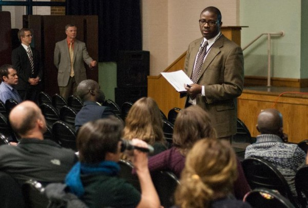 Portland Public Schools Superintendent Emmanuel Caulk addresses a modest crowd Thursday, Feb. 5, at King Middle School during the district's first town hall-style budget meeting.