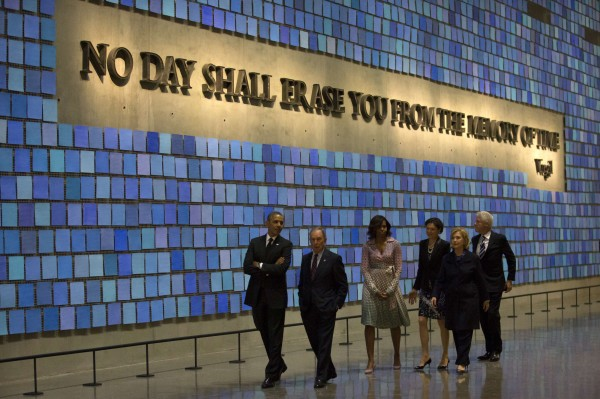 President Barack Obama (left), former New York Mayor Michael Bloomberg (second left), first lady Michelle Obama (third left), former President Bill Clinton (right) and former Secretary of State Hillary Clinton (second right) tour the National September 11 Memorial & Museum on Thursday in New York.