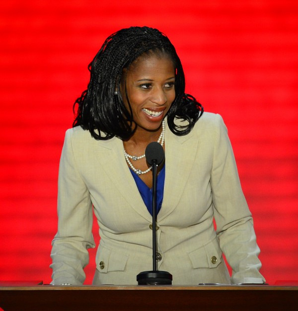 Mia Love of Utah speaks on the second day of the Republican National Convention in Tampa, Florida, in 2012. Love is running for Congress a second time.