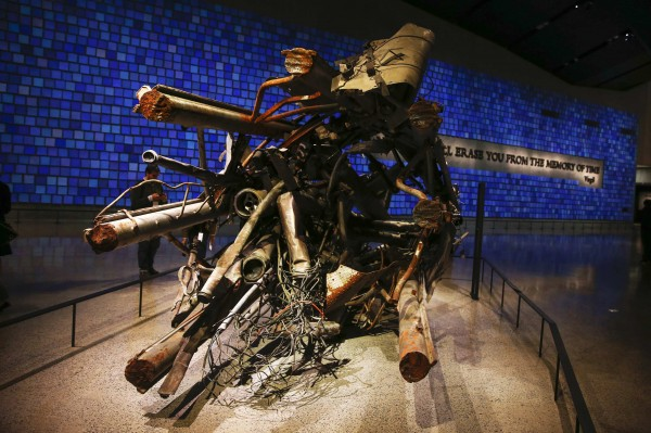 The antenna from the North Tower of the World Trade Center is seen inside the National September 11 Memorial & Museum during a press preview on Wednesday in New York.