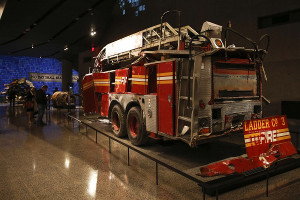 A FDNY fire truck from Ladder Co. 3 is seen inside the National September 11 Memorial & Museum during a press preview on Wednesday in New York.