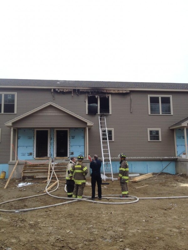 A condo under construction off Western Avenue in Hampden was damaged by fire Friday morning.