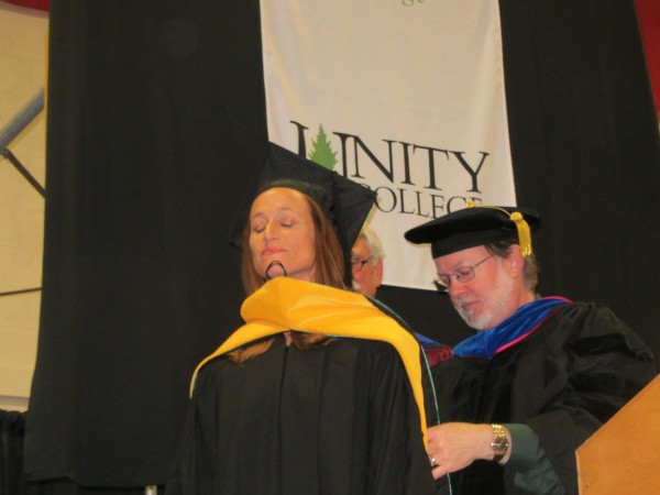 Celine Cousteau was awarded an honorary doctorate degree Saturday at Unity College's 45th commencement in Unity.