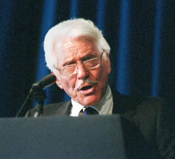 Efrem Zimbalist, Jr. speaks in 1997 at the Ronald Reagan Presidential Library in Simi Valley, California. Zimbalist died Friday, May 2, 2014, in Solvang, California, at 95.
