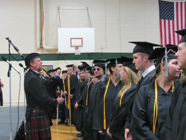 Bagpiper Chris Pinchbeck played as the graduates of Unity College entered the commencement ceremony on Saturday in Unity.