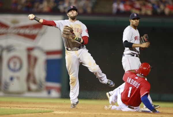Boston Red Sox second baseman Dustin Pedroia (15) turns a double play on Texas Rangers shortstop Elvis Andrus (1) in the eighth inning at Globe Life Park in Arlington, Texas, Saturday night. Boston beat Texas 8-3.