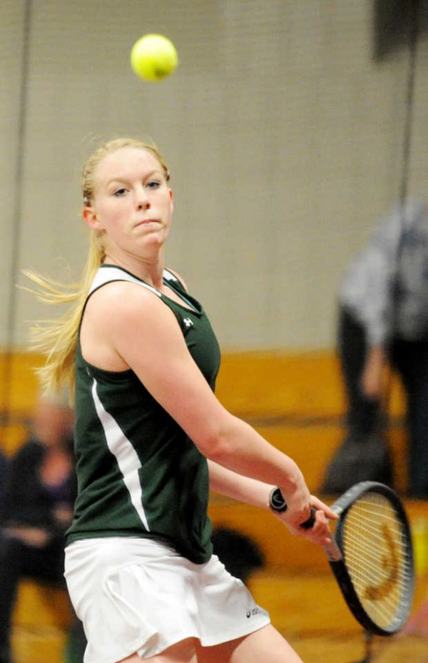 Carrabec's Hannah Atwood plays against Winthrop's Emily Spahr on Saturday at Bates College in Lewiston. Atwood won the match, 9-8.