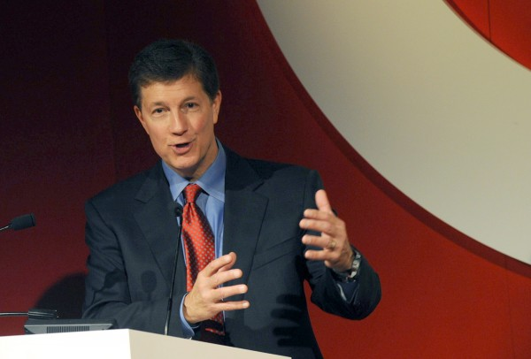 Target President and CEO Gregg Steinhafel speaks during an event announcing a holiday collection that partners Target and Neiman Marcus in New York in this October 2012 file photo. Target Corp said Monday that Steinhafel is leaving in the wake of the devastating data breach late last year.