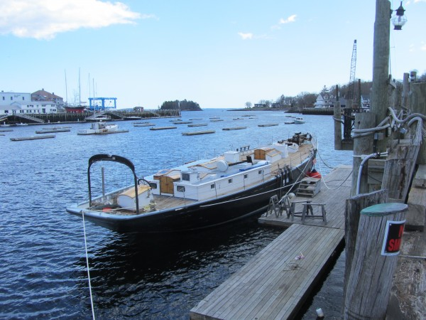 The Nathaniel Bowditch, minus its masts, sails and rigging, was docked in Camden Harbor this past week.