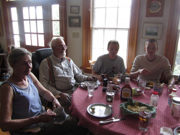Captains Linda and Doug Lee of Rockland have lunch with their crew as they take a break from getting the schooner Heritage ready to sail later this spring.
