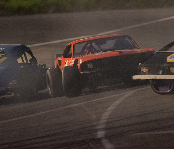 C.D. Farnsworth of Orono gets spun around during racing action in the Wicked Good Vintage Racing Series' Outlaws-Sportsman class at Speedway  95 in Hermon, Maine, Saturday, May 24, 2014.