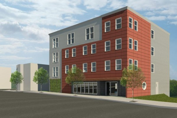 A rendering of the apartment building Avesta Housing plans to construct at 134 Washington Ave., Portland.