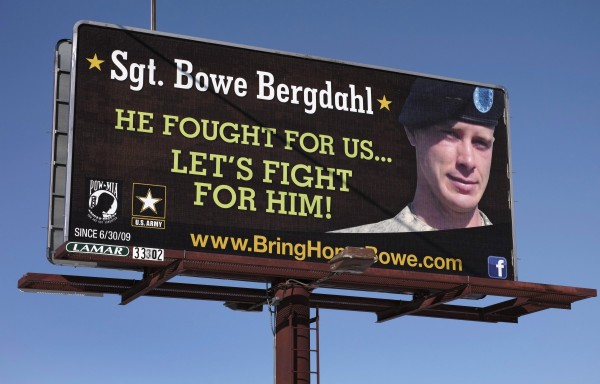 A billboard calling for the release of U.S. Army Sergeant Bowe Bergdahl, held for nearly five years by the Taliban after being captured in Afghanistan, is shown in this picture taken near Spokane, Washington, on February 25. Bergdahl has been released and is in U.S. custody, President Barack Obama said Saturday.