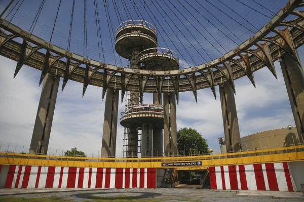 The New York State Pavilion, one of the last architectural vestiges of 1964 World's Fair is seen at Flushing Meadows-Corona Park in the Queens borough of New York on May 12, 2014.