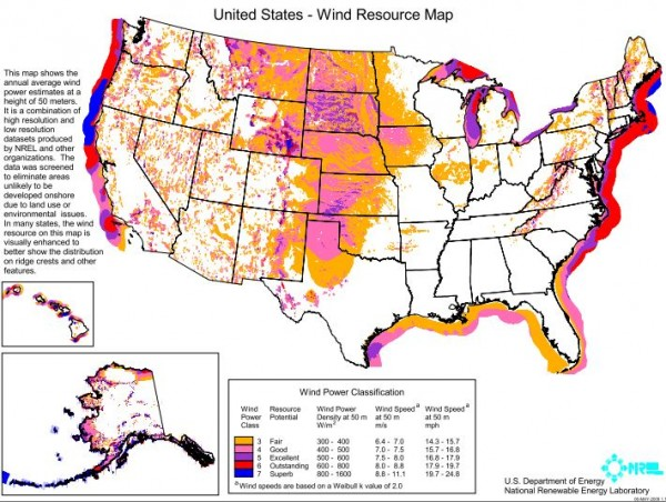 This map shows the annual average wind power estimates at a height of 50 meters. Maine's offshore wind power classification is listed as &quotoutstanding&quot and &quotsuperb.&quot