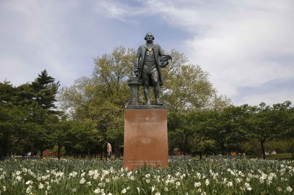 The George Washington (1732-1799) sculpture by Donald De Lue is seen at Flushing Meadows-Corona Park in the Queens borough of New York on May 12, 2014.
