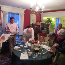 Participants in the Wood family's ice cream blind taste test fill out their assessment forms at a recent event.