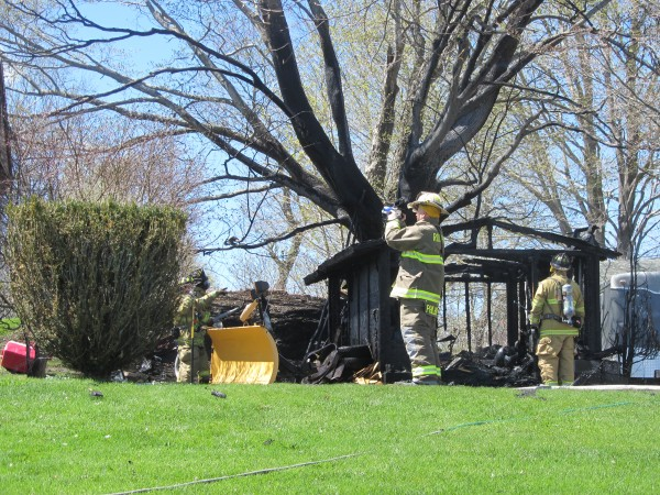 A garage on the West Meadow Road in Rockland was destroyed by fire Sunday afternoon.