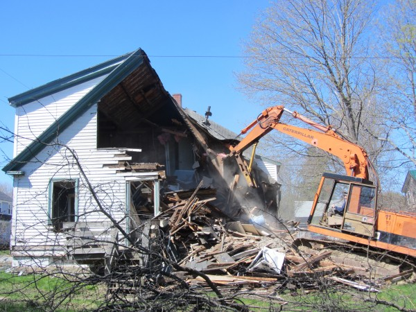 The multi-family house at 49 Pleasant Street in Rockland was demolished Wednesday.