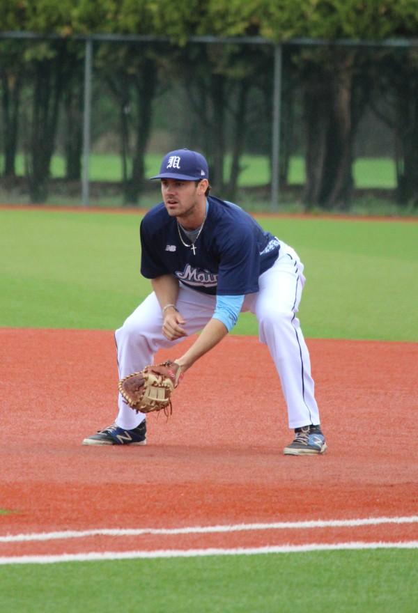 First baseman Nick Bernardo was among eight senior members of the University of Maine baseball team who played their last home game at Mahaney Diamond on Sunday.