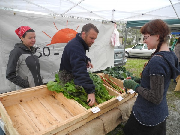 Ashleigh Russell of Belfast purchases lacinato kale and mustard greens Friday morning from farmers Rachele Leonard (left) and Josh Oxley of Sol Farm in Monroe. &quotWe've had a lot of early springs in the last seven years. This might be more typical,&quot Oxley said.