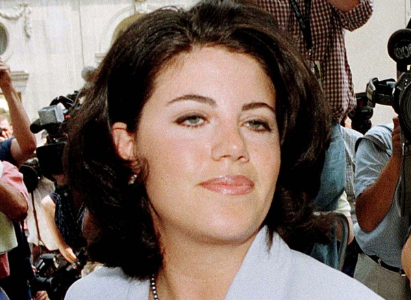 Former White House intern Monica Lewinsky is pictured arriving at her lawyer's offices in Washington in this file picture from July 28, 1998.