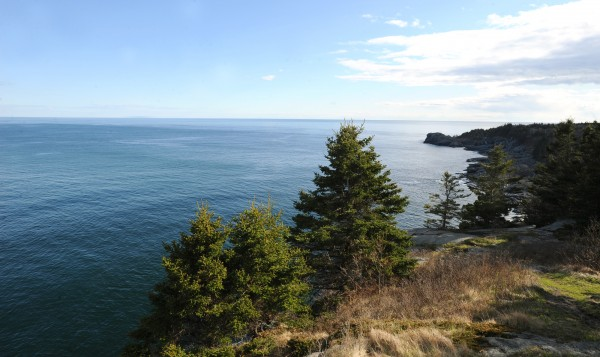 This view from the south side of Monhegan shows where a wind turbine test site has been proposed.