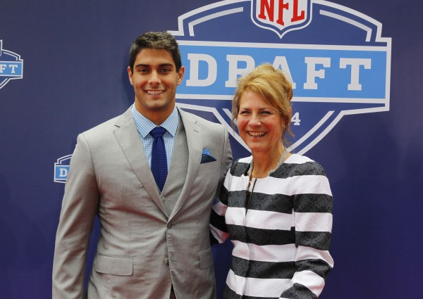 May 8, 2014; New York, NY, USA;   Jimmy Garoppolo (Eastern Illinois) stands with his mom Denise Garoppolo for a photo during the NFL Draft red carpet arrivals at Radio City Music Hall in New York Thursday.