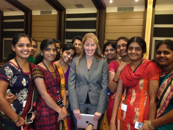 Amy Cotton, center, with students at Mangalore College of Nursing in Mangalore, India. Cotton taught about 2,000 health professions students, mostly nursing students, during a recent trip to India.