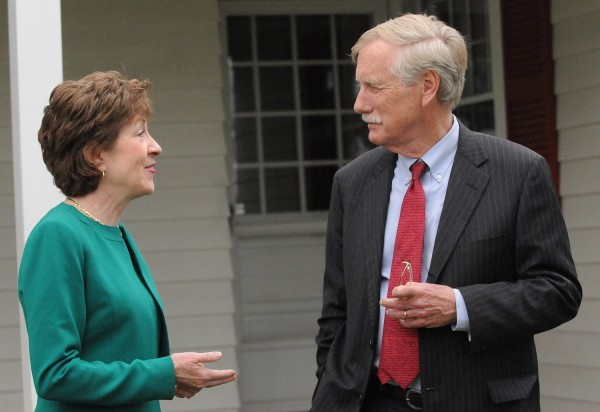 Sen. Susan Collins (left) and Sen. Angus King speak after a Friday press conference at the Margaret Chase Smith Library in Skowhegan. King endorsed Collins' bid for re-election on Friday.